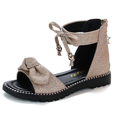 رخيصةأون أحذية الأطفال-للفتيات أحذية رومانية PU صنادل الأطفال الصغار (4-7 سنوات) / الأطفال الصغار (7 سنوات +) عقدة أسود / زهري / ذهبي الصيف