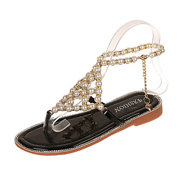 cheap New Arrivals-Women's Sandals Summer Flat Heel Open Toe Casual Daily Party & Evening Rhinestone / Pearl Solid Colored Faux Leather Black / Silver