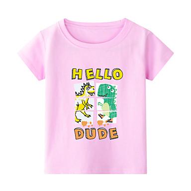 cheap Boys' Tops-Kids Toddler Boys' Chinoiserie Dinosaur Animal Print Short Sleeve Tee White