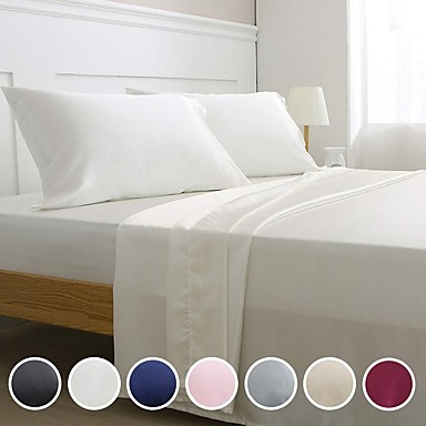 cheap Sheet Sets & Pillowcases-4 Piece Hotel Luxury Soft Premium Silk Solid Color Bed Sheets Set Deep Pockets Hypoallergenic Wrinkle & Fade Resistant Bedding Set