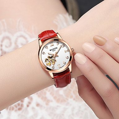 cheap Mechanical Watches-WLISTH Ladies Mechanical Watch Cubic Zirconia Synthetic Diamond Fashion White Red Brown Genuine Leather Chinese Automatic self-winding White+Red White+Pink White Water Resistant / Waterproof Calendar