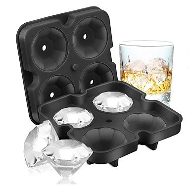 cheap Home & Garden-4 Grid Diamond Ice Cube Tray Reusable Ice Cubes Maker Silicone Ice Cream Molds Form Chocolate Mold Whiskey Party Bar Tools