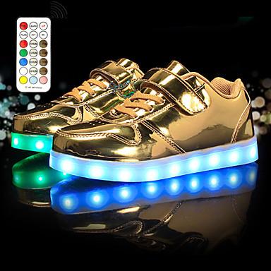 olcso LED Cipők-Fiú / Lány Tornacipők Világító cipők / USB töltés / Villogó cipő Bőr LED cipők Kis gyerekek (4-7 év) / Nagy gyerekek (7 év +) Futócipő / Gyalogló Strasszkő / LED / Fénylő Fehér / Fekete / Arany