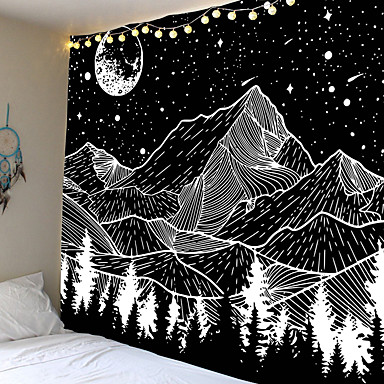 cheap Wall Tapestries-Sketch Wall Tapestry Art Decor Blanket Curtain Hanging Home Bedroom Living Room Decoration Trippy Mountain Landscape Moon Star Black and White