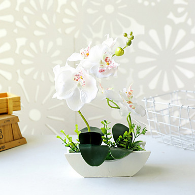 cheap Artificial Flowers & Vases-Boat-shaped Tub Two-pronged Phalaenopsis Bonsai Overall Height 30.5cm, Overall Diameter 20.5cm, Basin Height 6cm, Basin Diameter 17.5cm