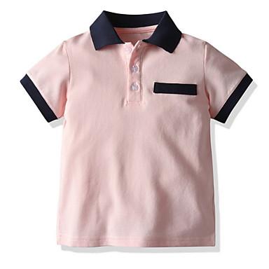 cheap Boys' Tops-Kids Boys' Street chic Color Block Short Sleeve Tee Blushing Pink