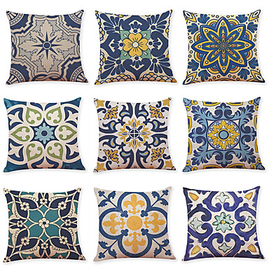 cheap Throw Pillow Covers-9 pcs Linen Pillow Cover, Geometric Pattern Printing Simple Casual Square Traditional Classic