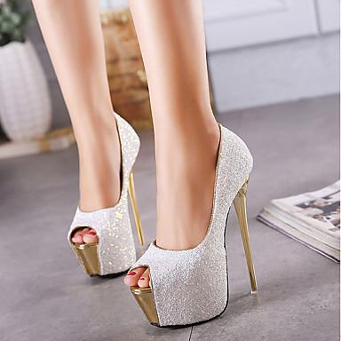 رخيصةأون أحذية النساء-نسائي كعوب / صنادل الصيف كعب ستيلتو أحذية أصبع القدم مناسب للبس اليومي PU أبيض / أسود / زهري
