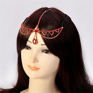 cheap Hair Jewelry-Women's Hair Jewelry For Gift Festival Flower Cord Imitation Diamond Red 1pc