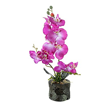 cheap Artificial Flowers & Vases-Three Fabric Phalaenopsis Bonsai With Foam Basin Overall Height 45cm, Flower Pot Height 8.5cm, Flower Pot Diameter 10cm