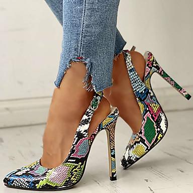 baratos Sandálias Femininas-Mulheres Sandálias 2020 Verão Salto Agulha Dedo Apontado Casual Diário Cobra Couro Sintético Arco-íris / Sapatos de impressão