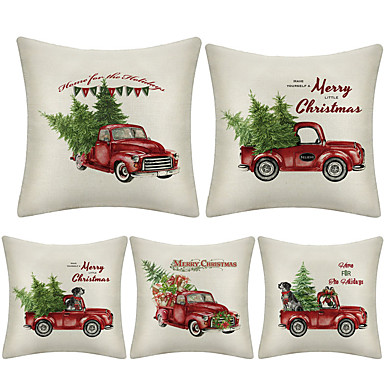 cheap Throw Pillow Covers-1 Set of 5 pcs Christmas Series  Decorative Linen Throw Pillow Cover 18 x 18 inches 45 x 45 cm