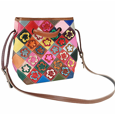 cheap Handbag & Totes-Women's Bags Cowhide Top Handle Bag for Daily / Office & Career Rainbow