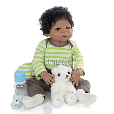 cheap Reborn Doll-KEIUMI 22 inch Black Dolls Reborn Doll Baby & Toddler Toy Reborn Toddler Doll Baby Boy Gift Cute Washable Lovely Parent-Child Interaction Full Body Silicone 23D39-C231-T19 with Clothes and Accessories