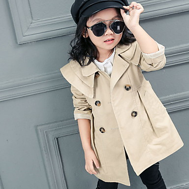 cheap Baby & Kids-Kids Girls' Basic Solid Colored Trench Coat Red