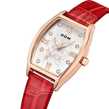 cheap Square & RectangularWatches-DOM Women's Sport Watch Quartz Modern Style Stylish Luxury Water Resistant / Waterproof Genuine Leather Red Analog - Red / Stainless Steel / Japanese