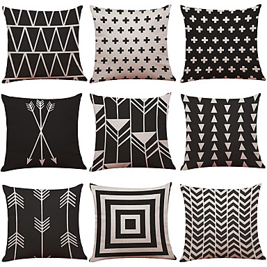 cheap Decorative Pillows-1 Set of 9 Geometric Lines Series  Decorative Linen Throw Pillow Cover 18 x 18 inches 45 x 45 cm