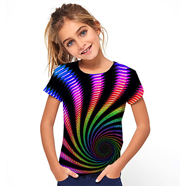 cheap Girls' Tops-Kids Girls' Basic Holiday Jacquard Short Sleeve Tee Black