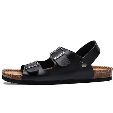 cheap Men's Shoes-Men's Summer Daily Sandals PU White / Black Color Block