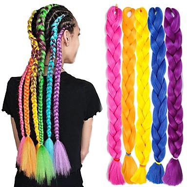 cheap Hair Braids-Crochet Hair Braids Jumbo Box Braids Black Blue Blonde Synthetic Hair Braiding Hair 6pcs 3pcs 1pc