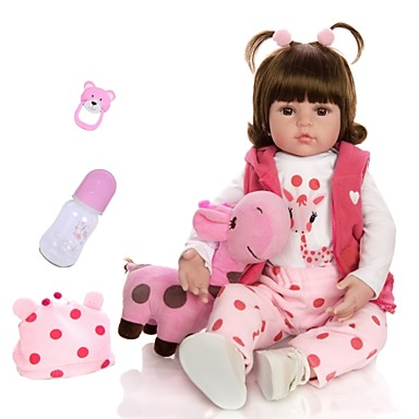 cheap Reborn Doll-KEIUMI 18 inch Reborn Doll Baby & Toddler Toy Reborn Toddler Doll Baby Girl Gift Cute Lovely Parent-Child Interaction Tipped and Sealed Nails 3/4 Silicone Limbs and Cotton Filled Body