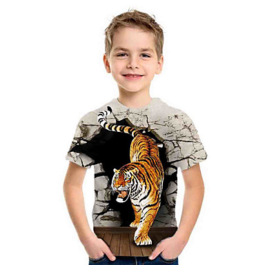 cheap Boys' Tops-Kids Boys'Basic Summer Holiday Tiger Animal Print Short Sleeve Tee Gray