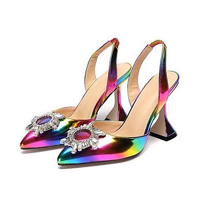 hesapli Kadın Sandaletleri-Kadın's Mokasen & Bağcıksız Ayakkabılar Yaz Parlama Topuk Sivri Uçlu Günlük Sentetikler Gökküşağı