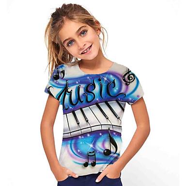 billige BarnekolleksjonUnder $8.99-Børn Pige Basale Ferie Geometrisk Trykt mønster Kortærmet T-shirt Blå