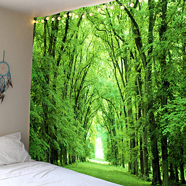 billige Veggdekor-moderne landskap tema lyse grønne blader friske trær veggtepper vegghengende hengende duk bakgrunnsduk dekorativt klede