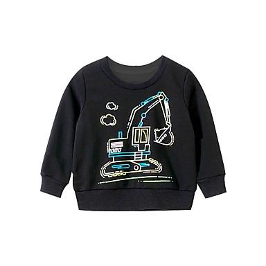 cheap Baby & Kids-Kids Boys' Basic Geometric Print Long Sleeve Hoodie & Sweatshirt Black