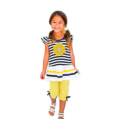 cheap Kids Collection Under $8.99-Toddler Girls' Active Daily Holiday Striped Solid Colored Print Short Sleeve Regular Clothing Set Yellow / Cute