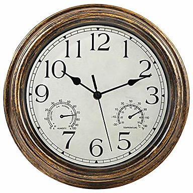 cheap Wall Clocks-12-inch indoor/outdoor waterproof wall clock with thermometer and hygrometer combo,vintage silent non-ticking battery operated clock wall decorative- bronze