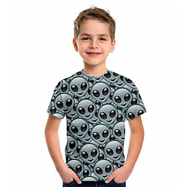 hesapli Kids CollectionUnder $8.99-Çocuklar Genç Erkek Spor ve Dış Ortam Temel Tatil 3D Kısa Kollu Tişört Açık Gri