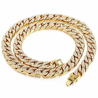 cheap Necklaces-Men's Gold Crystal Long Necklace Dollars Punk Alloy Gold 45 cm Necklace Jewelry For Street