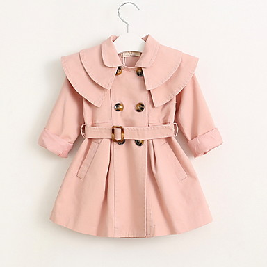 Baby & Kids-Kids Girls' Basic Solid Colored Trench Coat Red