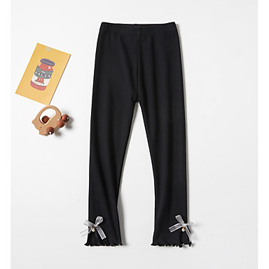 cheap Kids Collection Under $8.99-Kids Girls' Basic Solid Colored Bow Pants Black