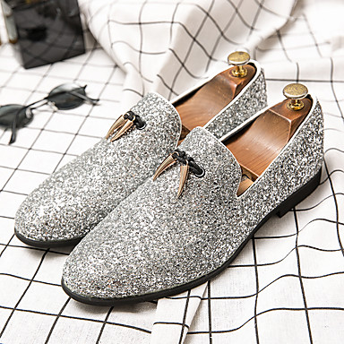 cheap Men's Slip-ons & Loafers-Men's Spring / Summer Business / Classic / Casual Daily Office & Career Loafers & Slip-Ons Faux Leather Breathable Non-slipping Wear Proof Black / Silver