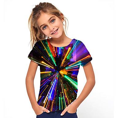 cheap Girls' Tops-Kids Girls' Basic Holiday Geometric Short Sleeve Tee Rainbow