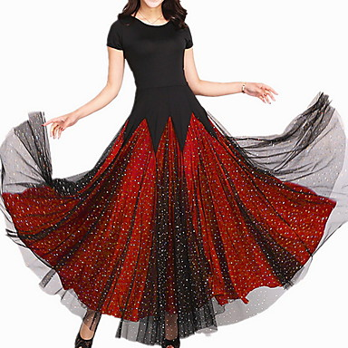 cheap Dancewear & Dance Shoes-Ballroom Dance Dress Pleats Paillette Women's Training Daily Wear Short Sleeve Polyester