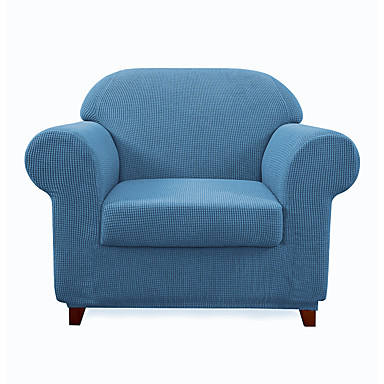 cheap Slipcovers-Armchair Slipcover 2 Piece Couch Cover Furniture Protector High Spandex Small Checks Knitted Jacquard Form Fit Slip Cover Stylish Chair Slipcover Chair Covers for Living Room