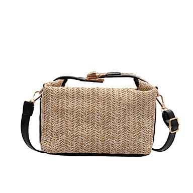 cheap Bags-Women's Bags Straw Top Handle Bag for Daily / Office & Career Black / Khaki