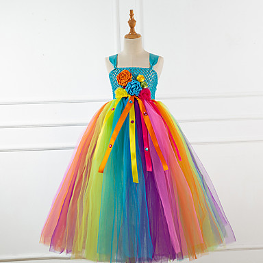 cheap Baby & Kids-Kids Toddler Girls' Active Sweet Rainbow Mesh Sleeveless Midi Dress Blue