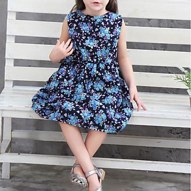 cheap Baby & Kids-Kids Girls' Floral Sleeveless Dress Blue