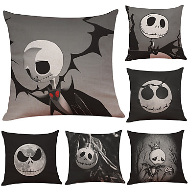 cheap Pillow Covers-Halloween Party Halloween Decor Horror Ghost1 Set of 6 pcs Halloween Series  Decorative Linen Throw Pillow Cover 18 x 18 inches 45 x 45 cm