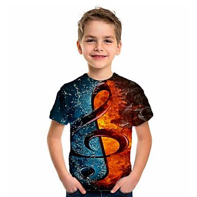 levne Děti & děti-Děti Chlapecké Sportovní Základní Dovolená Geometrický Tisk Krátký rukáv Košilky Hnědá