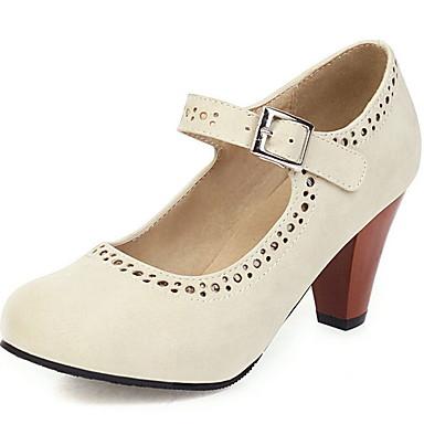 olcso Női cipők-Női Magassarkúak / Lolita cipők Tavasz / Nyár Körömcipők Kerek orrú Klasszikus Vintage Napi PU Fekete / Bíbor / Khakizöld