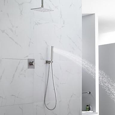 tanie Dom i ogród-Zestaw natryskowy wannowy / sufitowa głowica prysznicowa LED / prysznic ręczny w komplecie / zawór mieszający ciepłą i zimną wannę / mosiądz / szczotkowany / współczesny