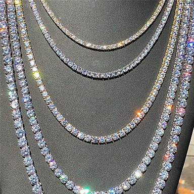 cheap Necklaces-Men's Women's Choker Necklace Necklace Hip Hop Zircon Chrome Golden Silver 21~50 cm Necklace Jewelry For Prom Street Birthday Party Festival
