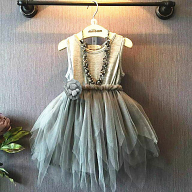 cheap Top Sellers-Toddler Girls' Bow Color Block Solid Colored Half Sleeve Rabbit Fur Dress Gray