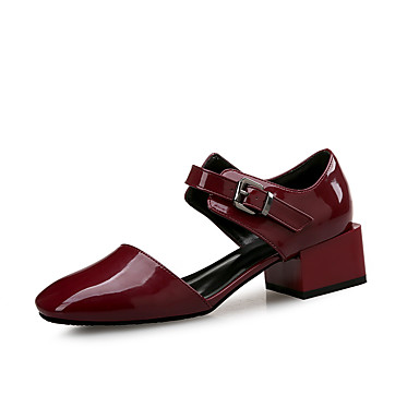 cheap Women's Sandals-Women's Sandals Spring Fall Block Heel Square Toe Office & Career Home Patent Leather Wine / Black / Green